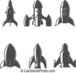 Set of the rockets icons. Design element for logo, label, emblem