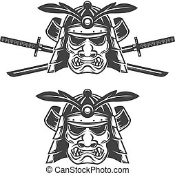 Set of the samurai mask with crossed swords isolated on...