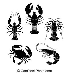 Set of the seafood crustaceans silhouettes