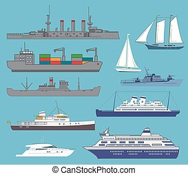 Set of the ships.Transport vessel steam.The bulk carrier with containers.