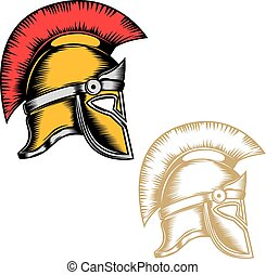Set of the spartan helmets isolated on white background. Design elements for logo, label, emblem, sign, brand mark. Vector illustration