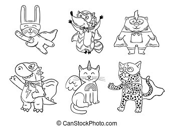 Set of the supper hero animals
