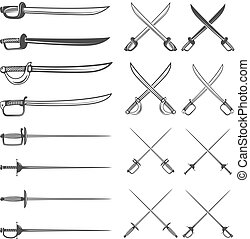 set of the swords isolated on white background. Design elements