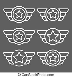 Set of the vector white emblems with wings