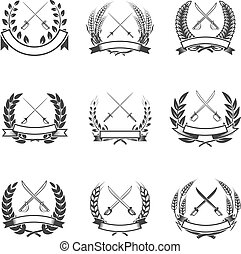 Set of the wreaths with swords. Design elements for logo, label,