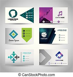 set of themed business card presentation templates