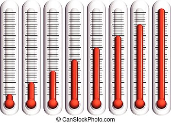 Set of thermometers on white