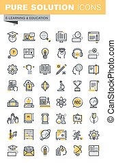 Set of thin line education icons