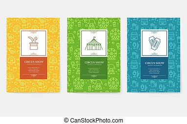 Set of thin line festival circus vacation pattern concept. ...