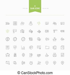 set of thin line flat bank, money and finance icons
