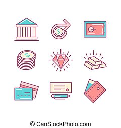 set of thin line flat money and finance icons.
