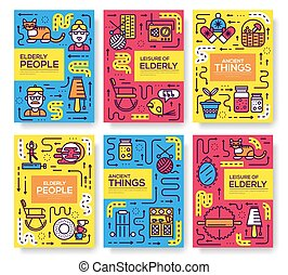 Set of thin line Grannys day pattern concept. Art old character people, magazine, book, poster, abstract, banners, element. Vector adult outline package greeting card or invitation brochure design.