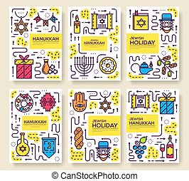 Set of thin line happy hanukkah day pattern concept. Art...