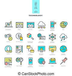 Set of thin line modern color icons