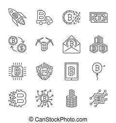 Set of Thin Line Stroke Vector Bitcoin and Cryptocurrency Icons.