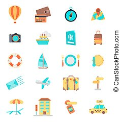 Set of thin line travel icons. Color version. Vector illustration