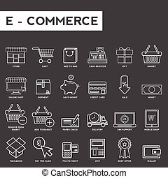 Set of thin lines web icons for e-commerce
