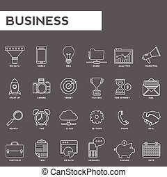 Set of thin lines web icons for business. marketing and finance