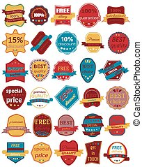 Set of Thirty Vector Badges with Ribbons