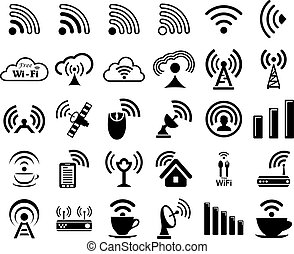 Set of thirty wifi icons