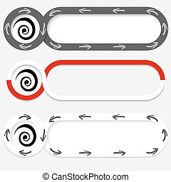 Set of three abstract buttons for your text and spiral