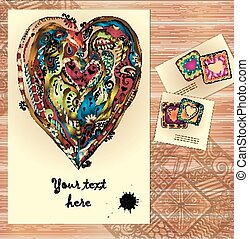 Set of three abstract doodle ethnic tribal hand drawn vector love cards on wood background. Paisley heart sketch invite. Series of template frame design for card. Used clipping mask for easy editing.