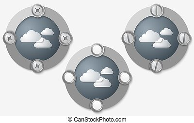 Set of three abstract icons with screws and clouds