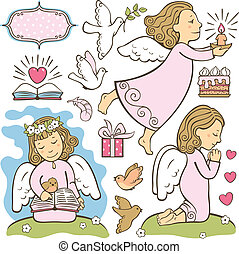 angels - Set of three angels (reads, prays, preaches) and...