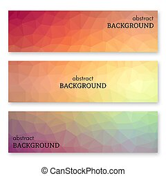 Set of three banners in low poly art style - Set of three...