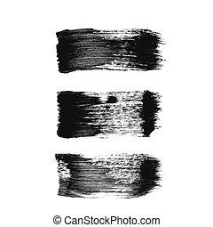 Set of three black grunge vector brush strokes