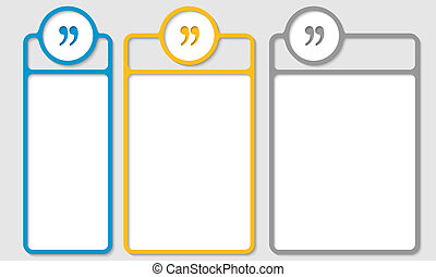 set of three bo for any text with quotation mark
