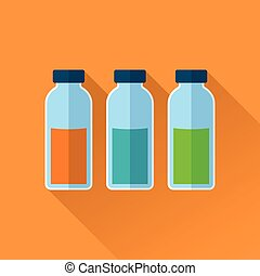 Set of three bottles with reagents in different colors. Flat...