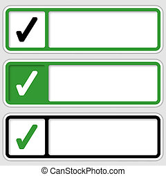 set of three boxes for any text with check box