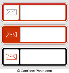 set of three boxes for any text with envelope