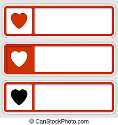 set of three boxes for any text with hearts