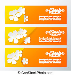 Set of three card with paper flower.