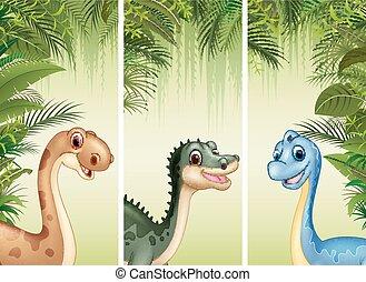 Set of three cartoon dinosaurs