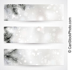 Christmas banners - set of three Christmas banners with fir ...