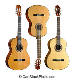 Set of three classical or spanish acoustic guitars, isolated on white background
