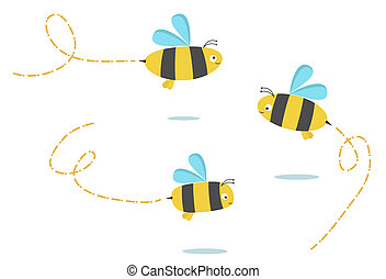 bees - set of three color bees