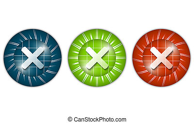 set of three colored icons with ban sign