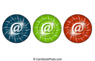 set of three colored icons with email icon