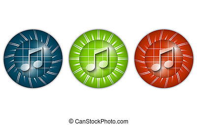 set of three colored icons with music icon