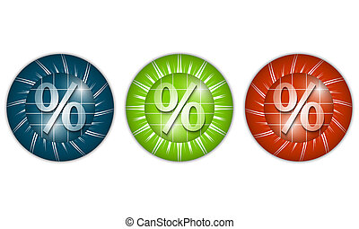 set of three colored icons with percent sign