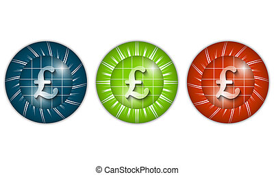 set of three colored icons with pound sign