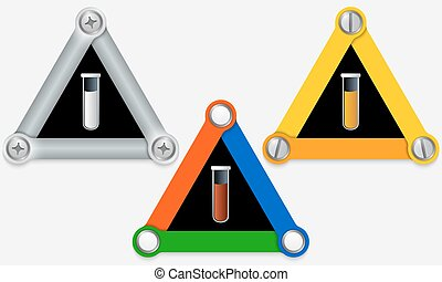 Set of three colored triangles and test tube