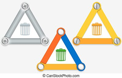 Set of three colored triangles and trashcan