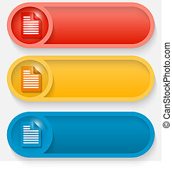 set of three colored vector abstract button with icon