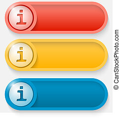 set of three colored vector abstract button with info icon