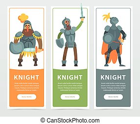 Set of three colorful banners with armed medieval knights with swords and shields in hands. Flat noble man character